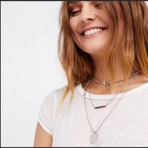 Free People Silver Moon Layered Chain Necklace